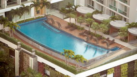 BANGKOK, THAILAND - CIRCA March 2017: Beautiful salt sea water pool in a hotel. Tropical resort. stock footage
