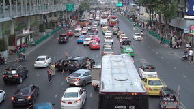 BANGKOK, THAILAND - CIRCA March 2017: City traffic jam, cars, mopeds, busses, taxis. Accident car crach stock video