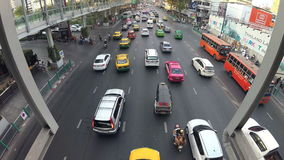 BANGKOK, THAILAND - CIRCA March 2017: City traffic jam, cars, mopeds, busses, taxis. Action camera stock video