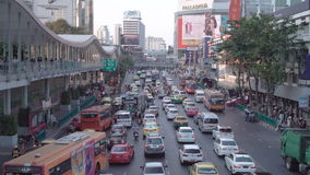 BANGKOK, THAILAND - CIRCA March 2017: City traffic jam, cars, mopeds, busses, taxis stock video footage