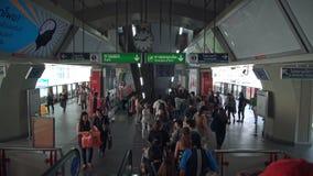 BANGKOK, THAILAND - CIRCA March 2017: People hurrying in the subway metro station by escalator. BANGKOK, THAILAND - CIRCA March 2017: People hurrying in the stock video footage