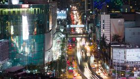 Bangkok, Thailand-circa March 2017: Time lapse of Bangkok at night. Traffic on busy road at rush hour stock video footage