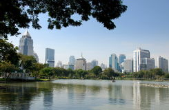 Bangkok, Thailand: City Skyline from Lumphini Park Stock Image
