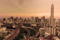 Bangkok , Thailand cityscape at dusk Stock Photo