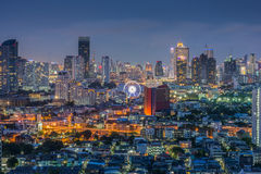 Bangkok thailand cityscape,Ferris wheel. Thailand bangkok twilight light night city architecture  building,Ferris wheel Stock Photography