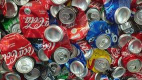 Bangkok Thailand 16 Aug 2020 Compressed Soda Cola cans wall recycle aluminium junkyard