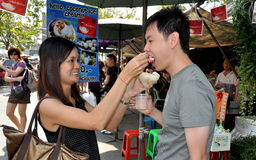 Bangkok, Thailand: Couple Eating Ice Cream Stock Photo