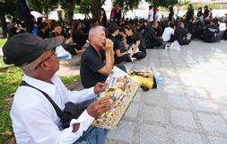 BANGKOK,THAILAND : Crowds of Thai people come for singing the anthem His Majesty King Bhumibol at Sanam Luang of the Royal Palace Stock Photography