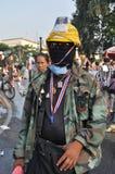 Bangkok/Thailand - 12 02 2013: De protesteerdersrel en neemt Metropolitaans HK van het Politiehuis Royalty-vrije Stock Foto's
