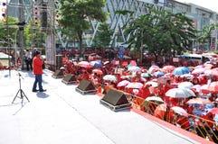 Bangkok/Thailand - 05 15 2012: De Rode Overhemden blokkeren Ratchaprasong/Asok Royalty-vrije Stock Fotografie