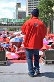 Bangkok/Thailand - 05 15 2012: De Rode Overhemden blokkeren Ratchaprasong/Asok Stock Fotografie