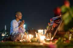 Thai people grieve over the demise of King Rama9 Stock Photos