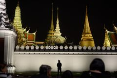 Thai people grieve over the demise of King Rama9 Royalty Free Stock Photos