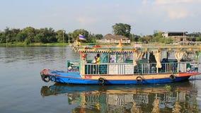 BANGKOK THAILAND - DEC12,2015 : domestic passenger boat sailing in chaopraya river nearly koh kred most popular traveling destinat stock video footage