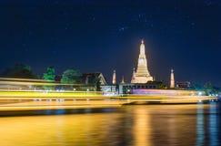 Bangkok, Thailand, 27 dec 2017 - Night time view of Wat Arun Te royalty free stock photos
