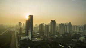 BANGKOK THAILAND - DECEMBER11,2016 : aerial view of sun rising a. Nd modern skyscraper makkasan district newly bangkok  residential area Stock Images