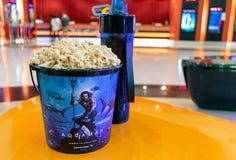 BANGKOK, THAILAND - DECEMBER 25, 2018: Aqua Man Souvenir Popcorn Bucket in Front of the Box Office stock photography