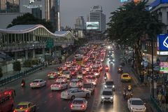 BANGKOK, THAILAND - December 24, 2017: Big C supercenter, in the opposite of Central World, on Ratchadamri road. Ar traffic near the Big C suppercenter Stock Photography