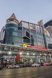 BANGKOK, THAILAND - December 24, 2017: Big C supercenter, in the opposite of Central World, on Ratchadamri road. Ar traffic near the Big C suppercenter Royalty Free Stock Photo