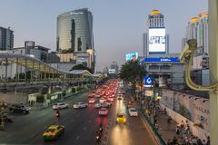 BANGKOK, THAILAND - December 24, 2017: Big C supercenter, in the opposite of Central World, on Ratchadamri road. Ar traffic near the Big C suppercenter Stock Image