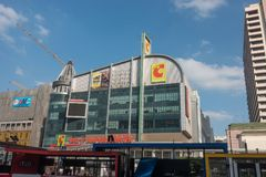 BANGKOK, THAILAND - December 6, 2017: Big C supercenter, in the opposite of Central World, on Ratchadamri road. Ar traffic near the Big C suppercenter Stock Images