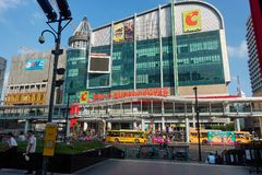 BANGKOK, THAILAND - December 6, 2017: Big C supercenter, in the opposite of Central World, on Ratchadamri road. Ar traffic near the Big C suppercenter Stock Image