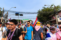 BANGKOK, THAILAND-DECEMBER 9 : The big group of protestors to at Stock Photo