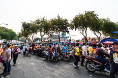 BANGKOK, THAILAND-DECEMBER 9 : The big group of protestors to at Royalty Free Stock Photo
