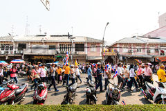 BANGKOK, THAILAND-DECEMBER 9 : The big group of protestors to at Stock Photography