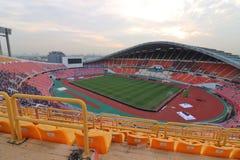Bangkok Thailand - December 8, 2016: Brett vinkelskott av nationell stadion för Rajamangala hem av Thailand Sikt från platsfan Royaltyfri Bild