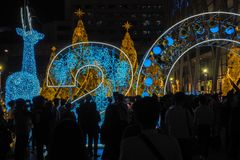 BANGKOK, Thailand - December 23, 2016 Central at night, many people came to celebrate Christmas day Welcome Christmas and happy. New year 2017 on December 23 stock photo