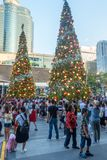 BANGKOK, THAILAND - December 24, 2017: Central World is one of the famous places to visit in Bangkok before Christmas Day. Decorated Christmas trees for crowd Stock Photography