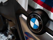 Bangkok, Thailand - December 2, 2018: Close up of a BMW logo on a BMW F850 motorcycle tank at Car Showroom in Bangkok, Thailand stock photo