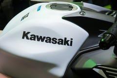 Bangkok, Thailand - December 2, 2018: Close up of a Kawasaki logo on motorcycle tank at Car Showroom in Bangkok, Thailand stock photo