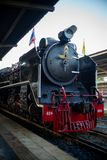 Bangkok,Thailand:December 5, 2018 - Closeup vintage steam train. Locomotive parking at the station waiting for departing. Landscape of State Railway of Thailand stock photography
