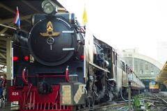 Bangkok,Thailand:December 5, 2018 - Closeup vintage steam train. Locomotive parking at the station waiting for departing. Landscape of State Railway of Thailand royalty free stock photos