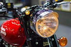 Detail parts of Headlight Royal Enfield Motorcycle. Bangkok Thailand - December 2, 2017: Detail parts of Headlight Royal Enfield Motorcycle At Thailand Stock Photos
