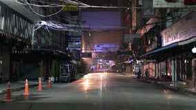 An early morning scene of Patpong street in Bangkok, Thailand. stock video footage