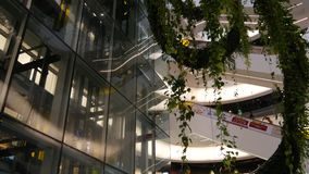 Bangkok, Thailand - 18 December, 2018 The Emquartier luxury shopping center. Design of mall, green environmentally. Friendly concept. hanging garden, futuristic stock video