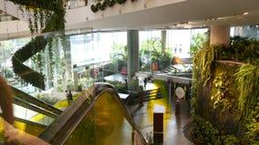 Bangkok, Thailand - 18 December, 2018 The Emquartier luxury shopping center. Design of mall, green environmentally. Friendly concept. hanging garden, futuristic stock footage