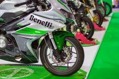 Bangkok THAILAND:: - December 8, 2017: - Framdelen av motorcykel'Benelli motorcykel royaltyfria foton