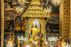 Image of Buddha in the Wat Pathum Wanaram temple. Bangkok, Thailand. royalty free stock photos
