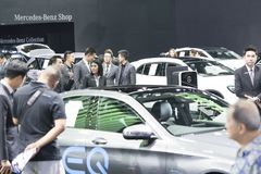 image of people in cars exhibition show at Motor Show Stock Image