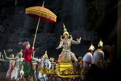 Bangkok Thailand - 13 december 2015, Khon är dansdramat av Tha Royaltyfri Foto