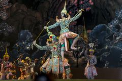 bangkok Thailand - 13 december 2015, Khon is dansdrama van Tha Royalty-vrije Stock Foto