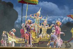 bangkok Thailand - 13 december 2015, Khon is dansdrama van Tha Royalty-vrije Stock Fotografie