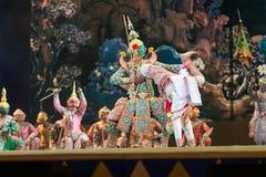bangkok Thailand - 13 december 2015, Khon is dansdrama van Tha Royalty-vrije Stock Foto's