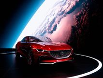 Bangkok, Thailand - December 02, 2018 : MG ZS E-motion Passion Drives concept red color on stage at Car Showroom in Bangkok, Thail stock images
