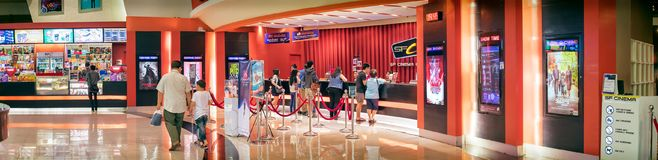 BANGKOK, THAILAND - DECEMBER 16: Movie goers line up at the box. Office at SF Cinema in The Mall Bangkhae in Bangkok on December 16, 2017 Royalty Free Stock Photography