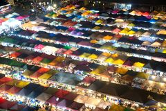 Night scence of aerial view at night market in Bangkok. Stock Images